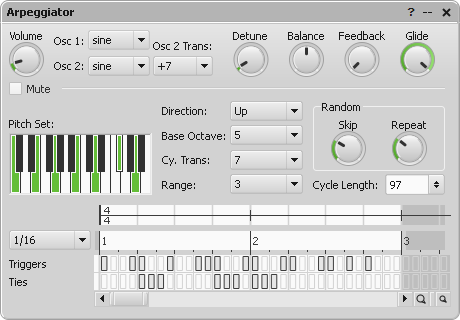Arpeggiator parameter editor window